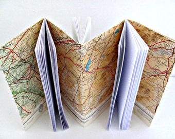Scotland travel journal  Map notebook  Handmade Historic travel diary  Holiday memory book  Upcycled gift for him  Gap year travel gift