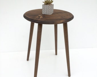 "18"" round side table, mid century inspired end table, living room accent table, wood side table"