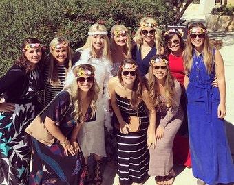 Bachelorette Party Flower Crown Set, Coachella Party, Bridal Party Crown, Bridal Shower Flower Crowns, Destination Boho Bachelorette