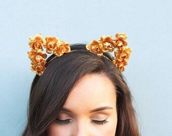 Gold Cat Headband, Game Day Headband, Gold Cat Ears Flower Headband, Rose Cat Ears, Floral Ears, Teen Gift. Festival Wear, Flower Cat Ears