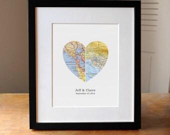 Heart Map, Wedding Gift, Anniverary Gift, Gift for Couple, Engagement Gift, Gift for Couple, Gift for Wife, Custom Map Art