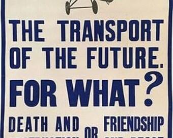 Vintage Ban All Military Aeroplanes Poster A3 Print