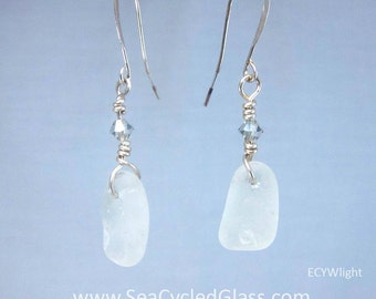White Nova Scotia sea glass earrings with sterling silver wire, light crystal and hypo-allergenic nickel free silver plate earring wires