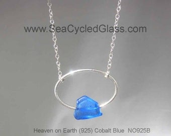 Necklace with Cobalt Blue Sydney, Cape Breton, Nova Scotia sea glass mounted on Sterling Silver oval, chain and toggle clasps (NO925B-NSSY)