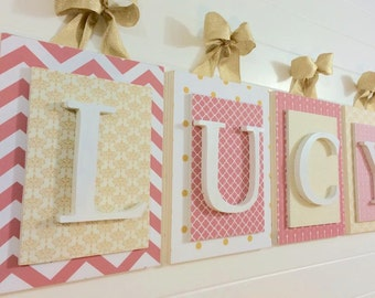 Nursery Letters, Girls letters, Baby Girl Wall Letters, Hanging Wall Letters, Coral and Gold Nursery, Gold Dot Nursery, Customized Letters
