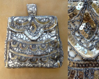 1920s-30s 'Handmade in Belgium' Sequin and Bead Flapper Bag / 20s-30s Beaded Bag / Vintage Bag
