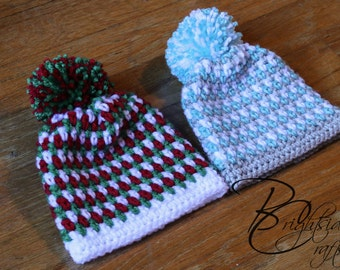 MADE TO ORDER Crochet Christmas Hat Crochet Holiday Hat Striped Pom Pom Hat Beanie Baby Toddler Child Hat Red Green Blue White Silver