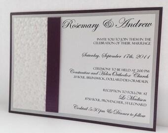 Wedding Invitation, Wedding Invitations, Purple Wedding Invitations, Silver Wedding Invitations, Elegant Wedding Invitations,