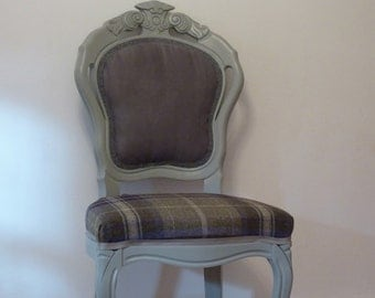 Vintage Louis tartan & grey chair,dressing table occasional, upcycled, shabby chic, handpainted, tartan chair.