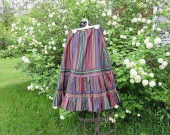 "50% OFF SALE Vintage 1950s Karell stripe skirt crinoline brown green yellow purple red A-line 23"" waist layered tulle ruffles"