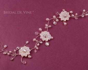 Siena Bridal Hair Vine Freshwater Pearls & Crystals CRYSTALLIZED™
