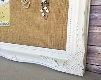 Burlap bulletin board - shabby chic decor - white bulletin board - pin board