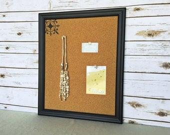Pin board - framed cork board - black frame