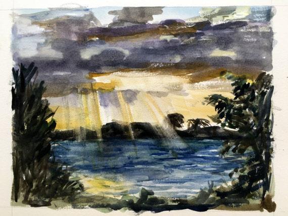 Tropical Sunrise: Original watercolor painting