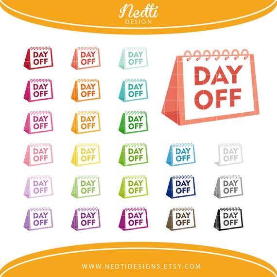 24 Day Off Clipart Set, Colorful Rainbow, Holiday Clip Art ...
