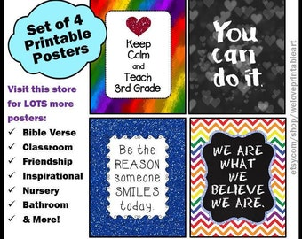Third Grade Teacher, Keep Calm and Teach 3rd Grade, Gift Ideas for Teachers, 3rd Grade Teacher Appreciation Week, Printable Posters