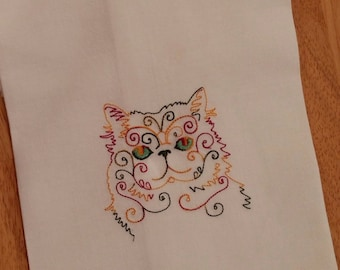 Cat Embroidered Kitchen Tea Towel