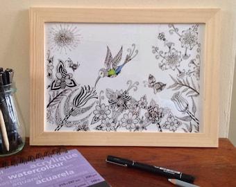 Drawing print of Humming Bird, Zentangle print, Bird Zen Doodle Print,Bird print, Greeny Blue Bird Print, Living room Print, Wall Deco