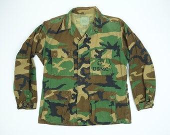Vintage Camo Army Jacket Men's Medium - U.S. Marines Jacket Medium Regular - Camouflage Jacket Lightweight Men's Medium - Army Jacket M