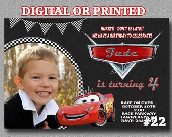 Disney Cars Birthday Party Invitation YOU Print Digital File or PRINTED, Birthday invitation, Cars Party