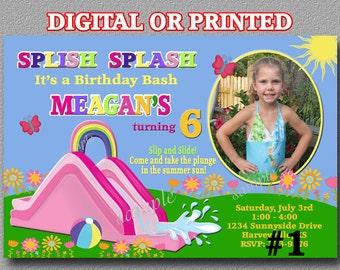 Water Slide Invitation YOU Print Digital File or PRINTED  Birthday Party invites waterslide invitation