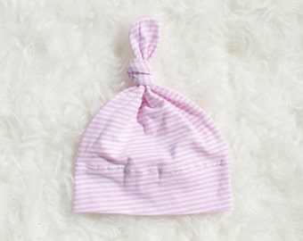 Spring Baby Hat - Baby Girl Hat - Pink Baby Hat - Newborn Hat - Top Knot Baby Hat - Jersey Hat - Baby Gift - Baby Shower Gift