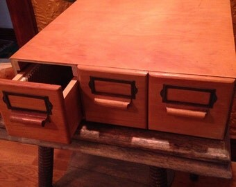 Vintage wooden 3 drawer library card catalog with wood pulls. Do e tail. Beautiful