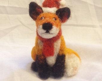 Fox Christmas decoration - needle felted fox ornament - wool animal tree decoration