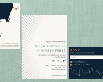Modern Brooklyn New York Wedding Suite // DIY PRINTABLE Invite + RSVP // Modern Wedding, Whimsical Wedding, New York Skyline