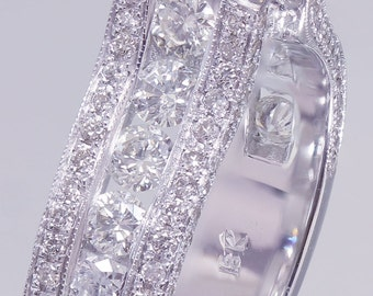 14k White Gold Round Diamond Engagement Ring Antique Deco 2.20ctw I-VS2 GIA