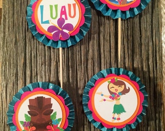 Luau Cupcake Toppers (Set of 12)