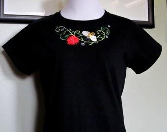 Women's Junior T-Shirt, Spring T-Shirts, Embroidered Spring T-Shirts, Floral Spring T-Shirt, Cap Sleeve T-Shirts