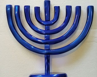 Blue Traditional Menorah, Blue Hanukia