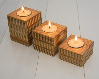 Three wooden candle holders. Reclaimed wood. Oak wood. Modern wooden candle holders. Minimalist. Natural wood. Candle block. Set of 3.