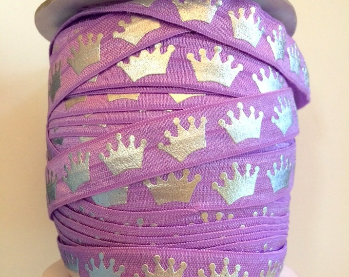 "Purple Silver Crown Royal Princess Foldover Elastic FOE 5/8"" 16mm Rapunzel Sofia the First Birthday Party Favors"