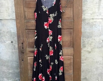 Vintage 90's Floral Rose Print Rayon Button Down Maxi Tank Dress of Perfection by Rampage size Medium