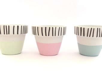 Hand Painted Stripe/Pastel Plant Pot Trio