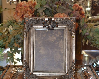 Old World Tuscan Embellished 5 X 7 Picture Frame w/Orante Detail and Swarovski Crystal Accents