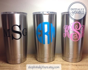 Monogram Decal for Yeti 20oz, Personalized Vinyl Sticker for Yeti Tumbler, Yeti Cup Decal, 20oz Yeti Rambler Monogram Decal, DECAL ONLY