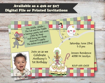 Mother Goose Birthday Party Invitations, Nursery Rhyme Party, Mother Goose Party, 1st Birthday Invitations, Digital File or Printed Cards