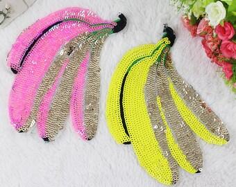 Banana  sequined patches Paillete Patch Applique fabric clothes
