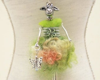 Kitty s Woolfashion  , cute animal doll with Stainless Steel necklace