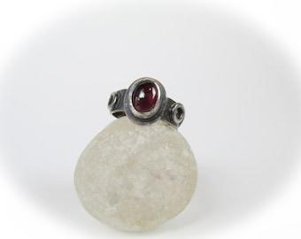Garnet Ring in Oxidized Sterling