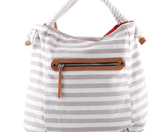 Canvas Large (42 cm x 35cm) Beige and White Striped Handbag. Tote Bag. Hobo Woman Handbag.Beige and White Bag.