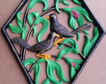 Painted Birds Wall Hanging
