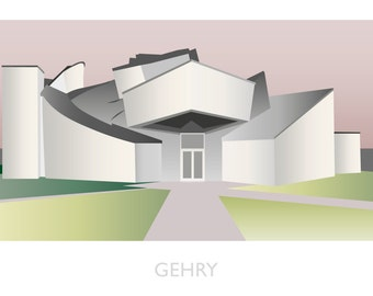 Architecture Illustration of the Frank Gehry Vitra Museum in Germany