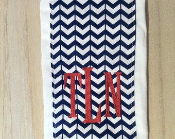 Navy Chevron Burp Cloth with Embroidery Monogram