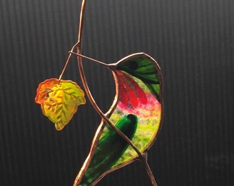 Turned Hummingbird with Maple FALL Leaves stained glass suncatcher