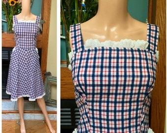 Vintage 50s Plaid Gingham Ruffled Eyelet Prairie Picnic Sundress Dress M L