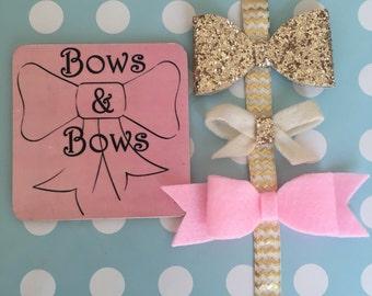 Hair Bow Gift Set, Glitter Hair Bow, Girls Hair Bow, Stocking Filler, Elastic Headband, Baby Bows, Baby Headband